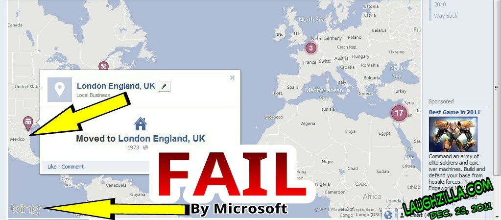 screenshot of a true microsoft bing FAIL on the new facebook timeline