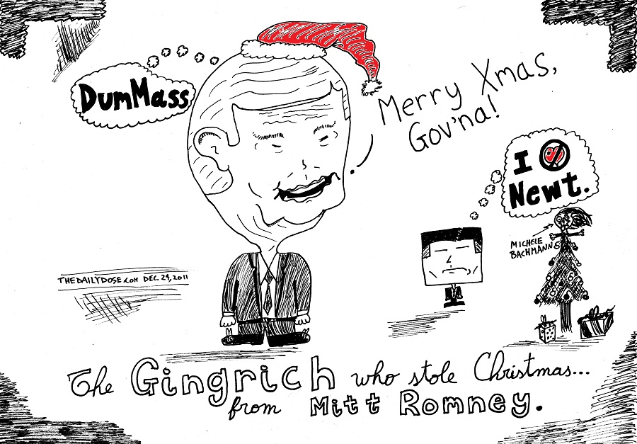 newt gingrich who stole christmas from mitt romney comic strip panel by laughzilla