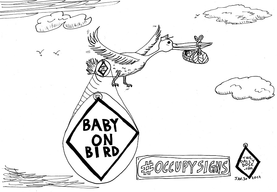 Baby On Bird #OccupySigns comic strip panel by laughzilla