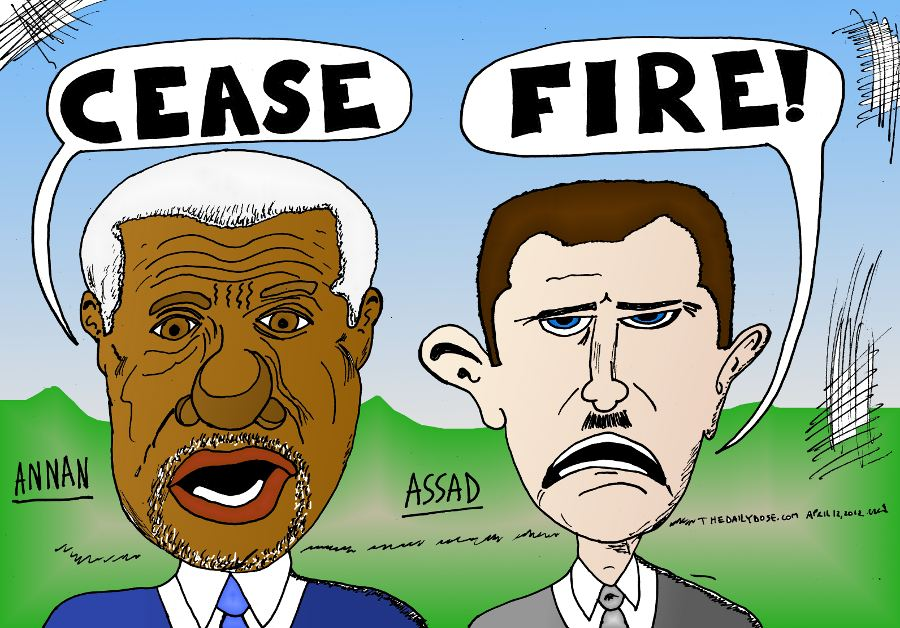 Annan Assad Cease Fire In Syria Caricature