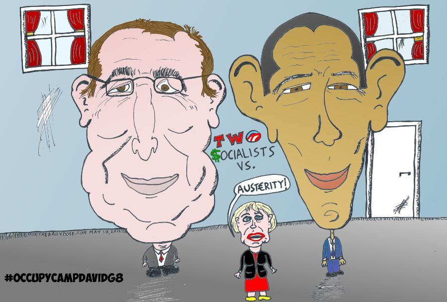 Camp David G8 Hollande Obama Merkel Cartoon
