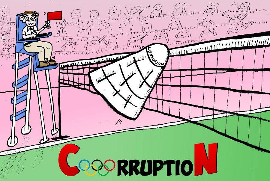 Badminton Corruption at the London Olympic Games Editorial Cartoon
