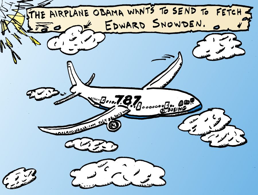 Editorial Cartoon The Airplane Obama Would Send To Fetch Edward Snowden
