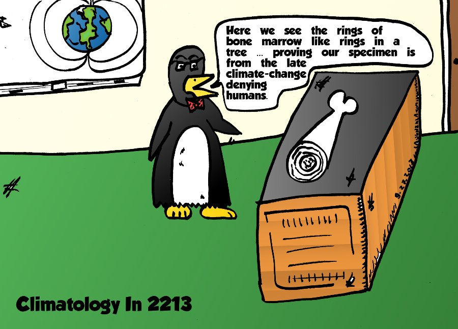 prof. penguin's proof of climate change - caricature from 10/19/2013