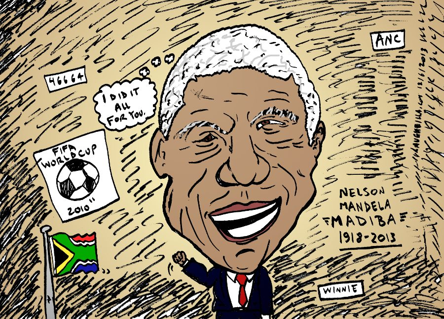 Remembering Nelson Mandela caricature by laughzilla