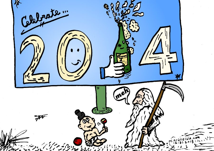 Happy New Year 2014 feat. champagne and father time cartoon