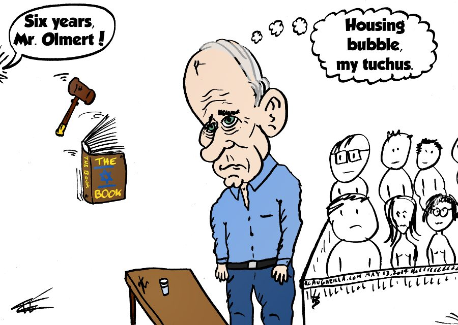 sentencing of former PM Olmert caricature 2014-05-13 by laughzilla
