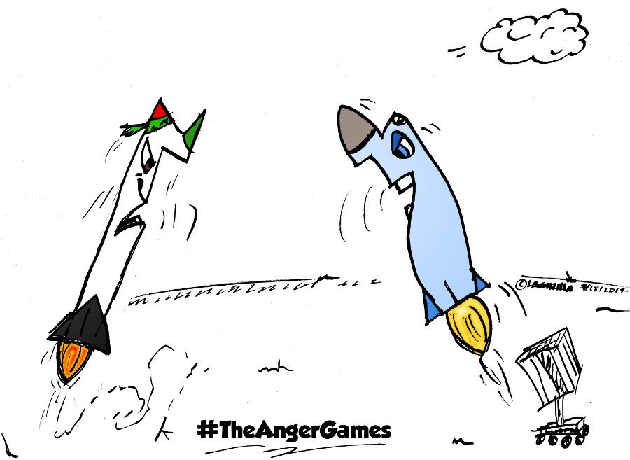 rocket vs iron dome caricature july 15, 2014